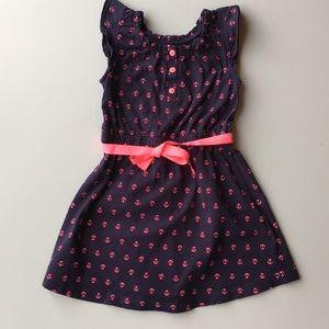 CARTERS girls NAUTICAL Navy Hot Pink dress size 3T